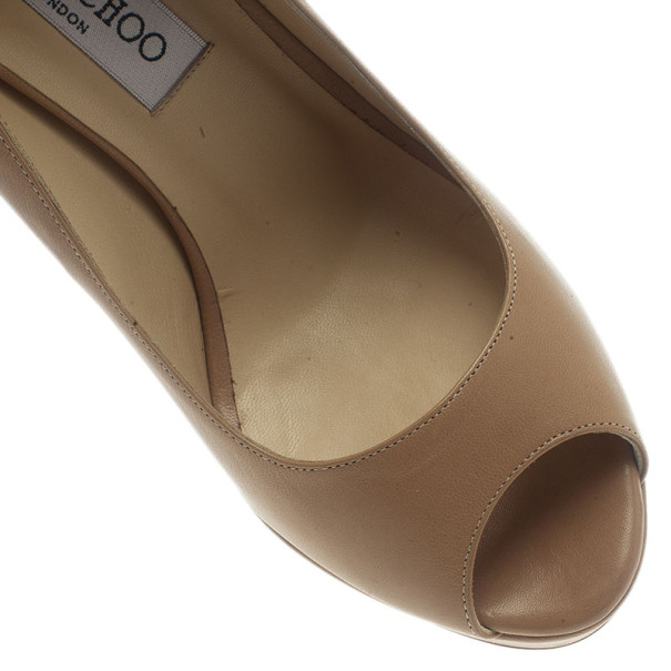 Jimmy Choo Beige Leather Crown Peep Toe Platform Pumps Size 37