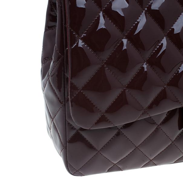 Chanel Burgundy Patent Leather Jumbo Flap