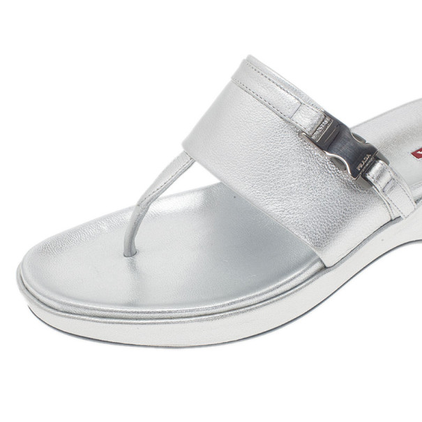 Prada Sport Silver Metallic Leather Thong Sandals Size 39