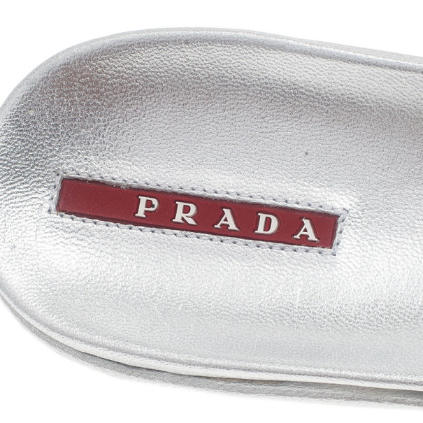 Prada Sport Silver Metallic Leather Thong Sandals Size 39