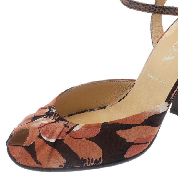 Prada Floral Print Ankle Strap Sandals Size 39.5