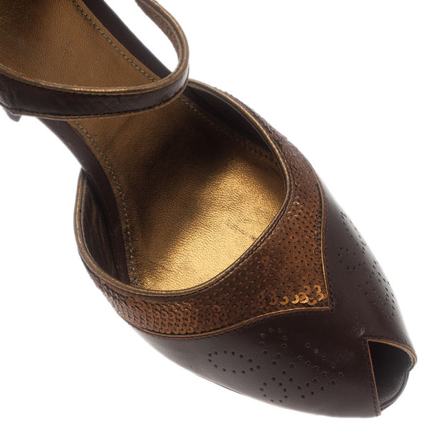 Prada Brown Leather Mary Jane Pumps Size 40