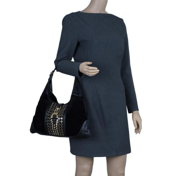Gucci Black Suede Embellished Bouvier Jackie O Bag Hobo