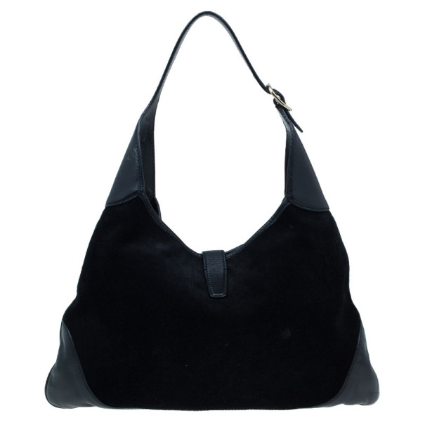 Gucci Black Suede Embellished Bouvier Jackie O Bag Hobo
