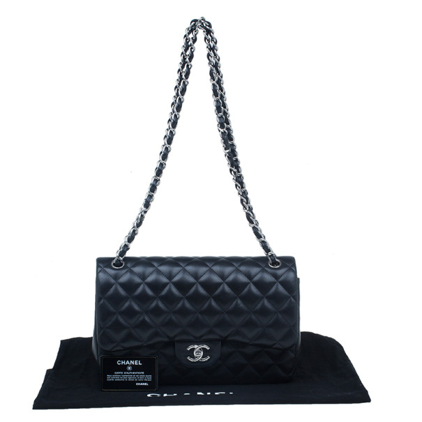 Chanel Black Quilted Lambskin Jumbo Classic Flap Bag