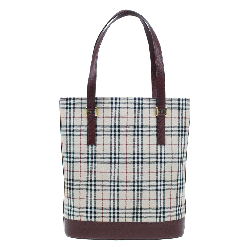 Burberry Burgundy and Check Tote Shoulder Bag