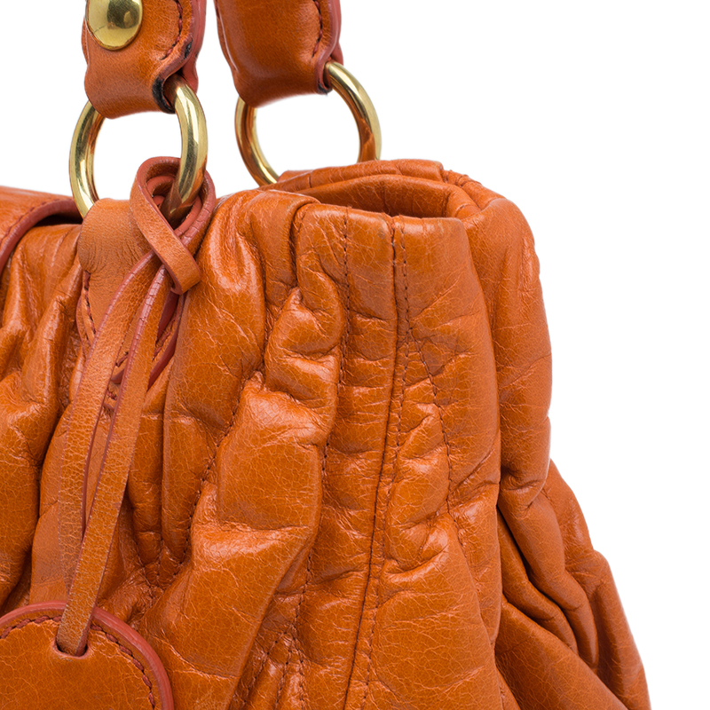 Miu Miu Orange Leather Small Matelasse Tote Shoulder Bag