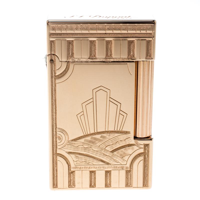 Купить со скидкой ST Dupont Art Deco Ligne 2 Textured Rose Gold Finish Limited Edition Lighter