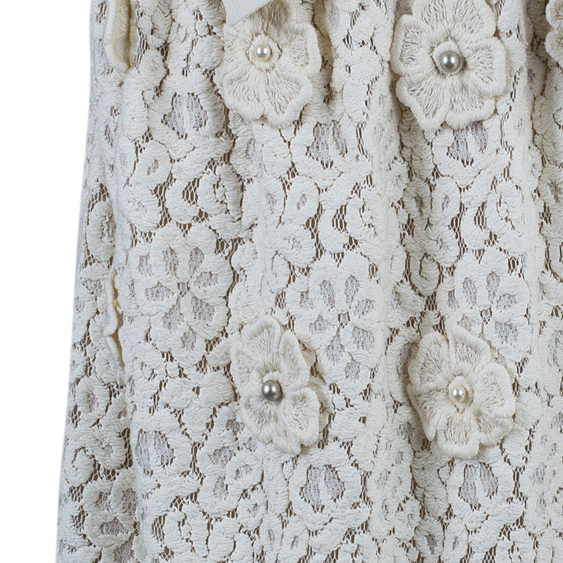 Chloe Offwhite Floral Skirt M