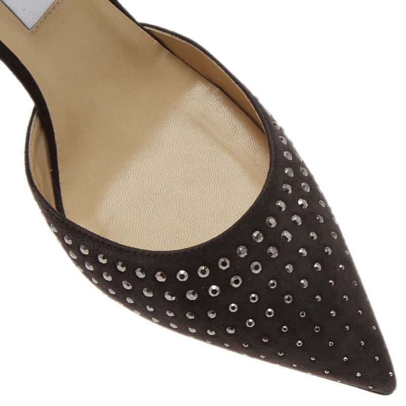Jimmy Choo Grey Suede Studded Addison D'orsay Pumps Size 41