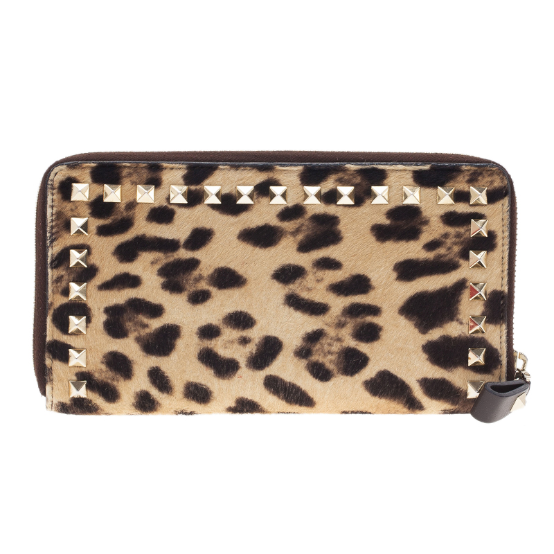 Valentino Pony Hair Zip Around Rockstud Wallet