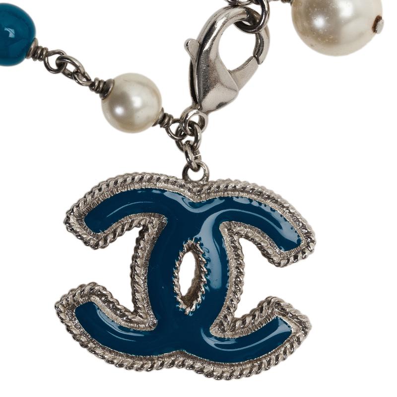 Chanel CC Faux Pearl Blue Beads Silver Tone Bracelet
