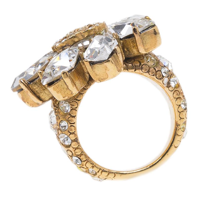 Chanel CC Flower Crystal Gold Tone Ring Size 54.5