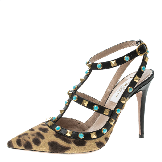 Valentino Woman The Rockstud Leather Sandals Size 36.5 t0rzgd
