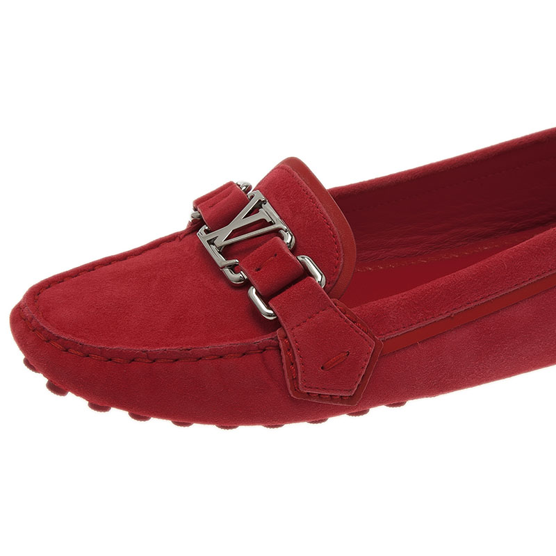 Louis Vuitton Red Suede Oxford Loafers Size 38