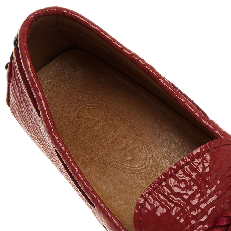 Tod's Brick Red Patent Bow Loafers Size 43.5