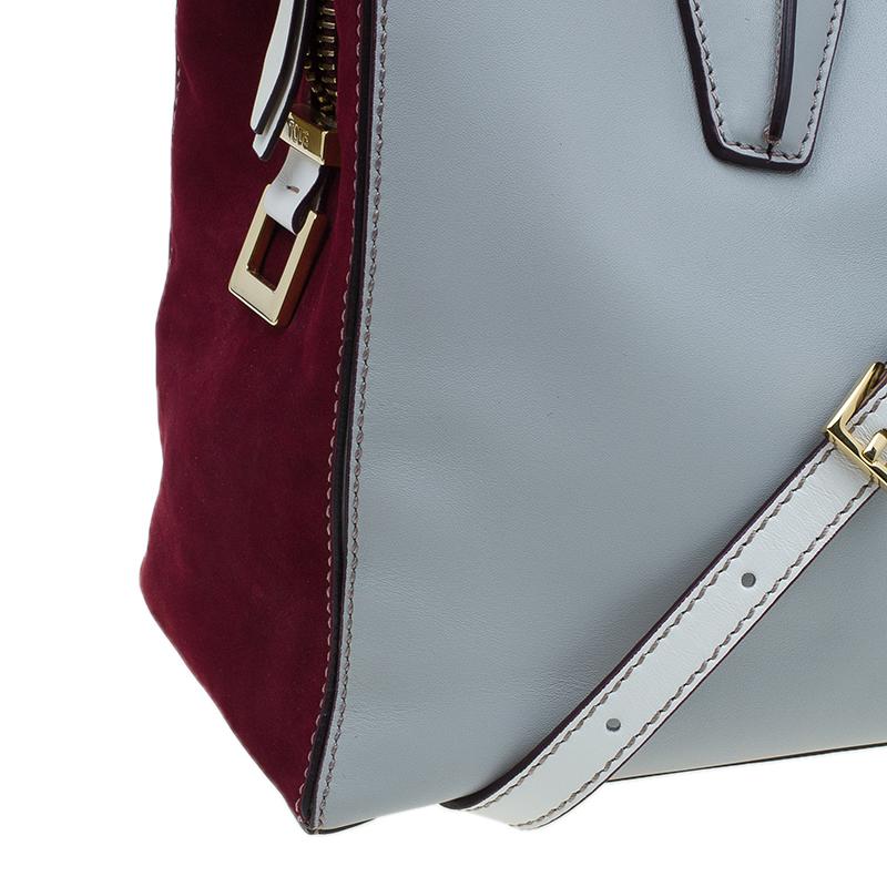 Tod's Grey Bi Color Leather Medium D-Cube Tote Bag