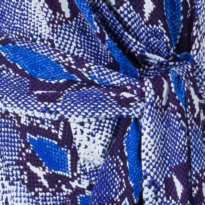 Diane von Furstenberg Blue Snake Print Silk New Della Dress L