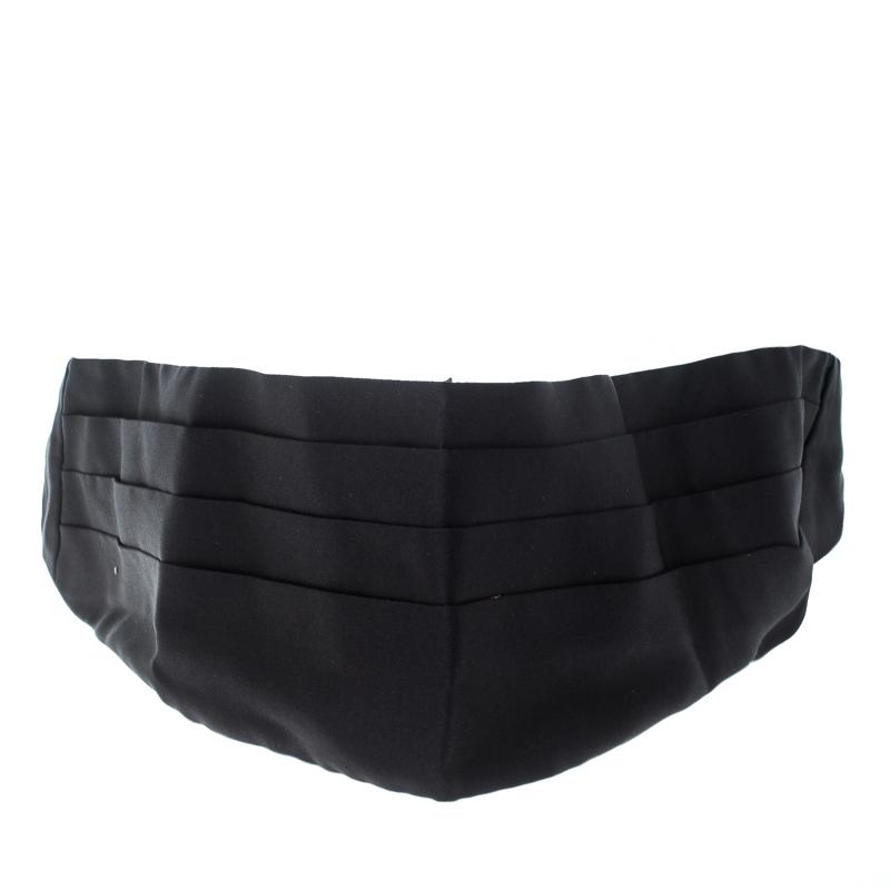 Купить со скидкой Dolce and Gabbana Black Silk Satin Pleated Cummerbund Size 54