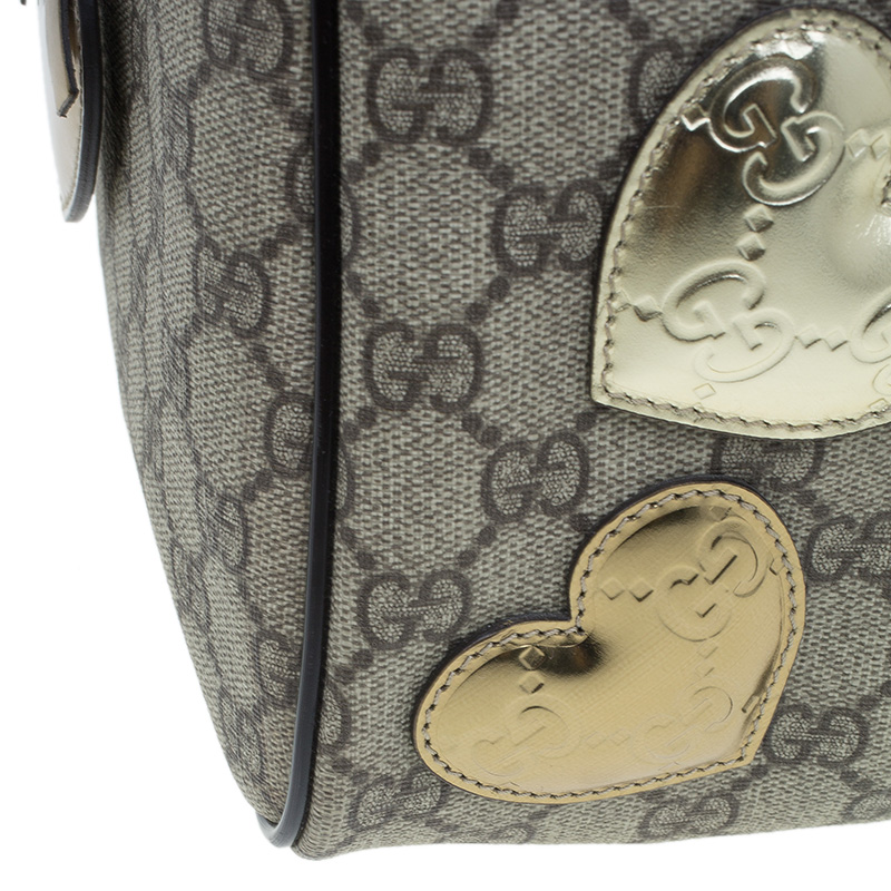Gucci Beige Coated Canvas Medium Vintage Web Heart Original Boston Bag