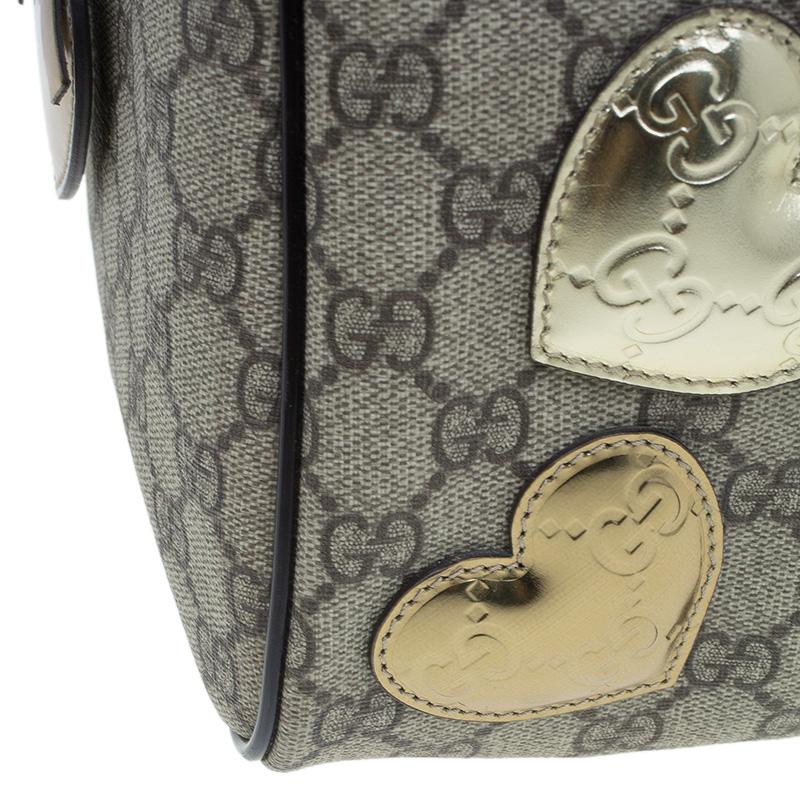 Gucci Beige Coated Canvas Medium Vintage Web Heart Original Boston Bag