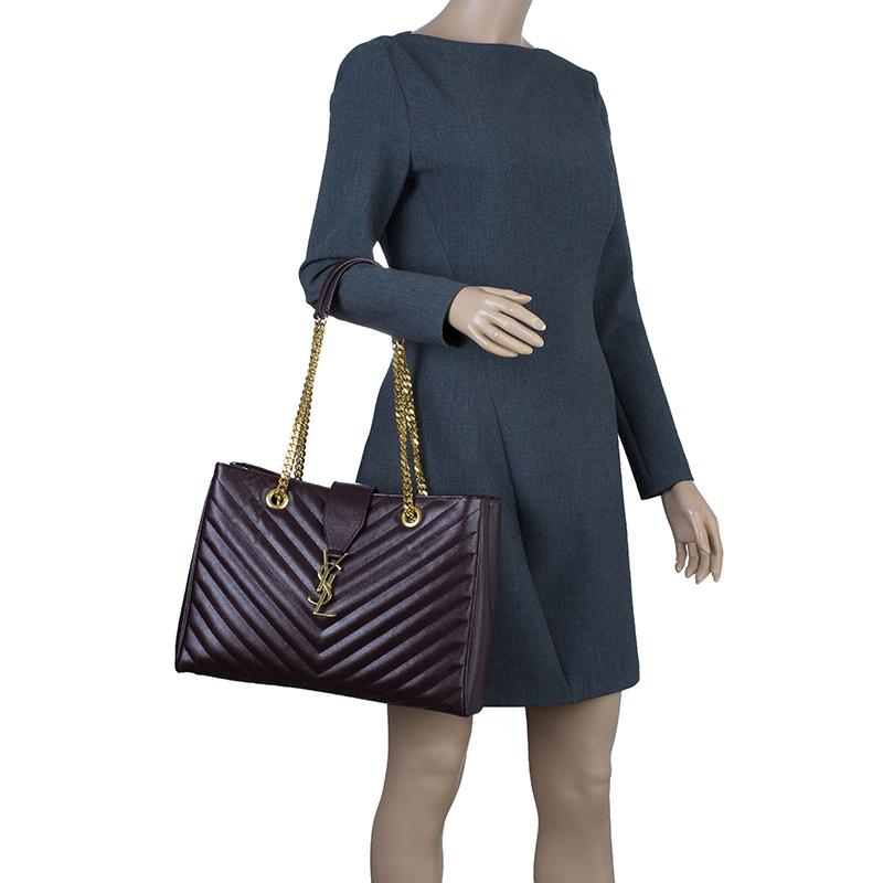 Saint Laurent Paris Burgundy Matelasse Leather Cassandre Shopper Tote