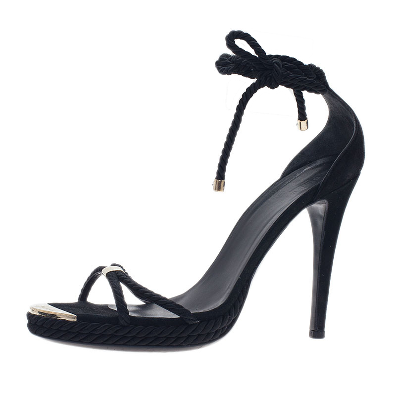 Gucci Black Rope Strappy Lace Up Sandals Size 40.5
