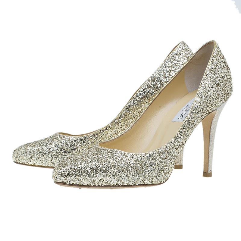 Jimmy Choo Gold Coarse Glitter Vikki Pumps Size 39.5
