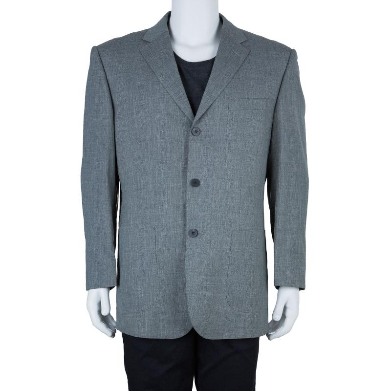 Ermenegildo Zegna Men's Grey Three Button Blazer L