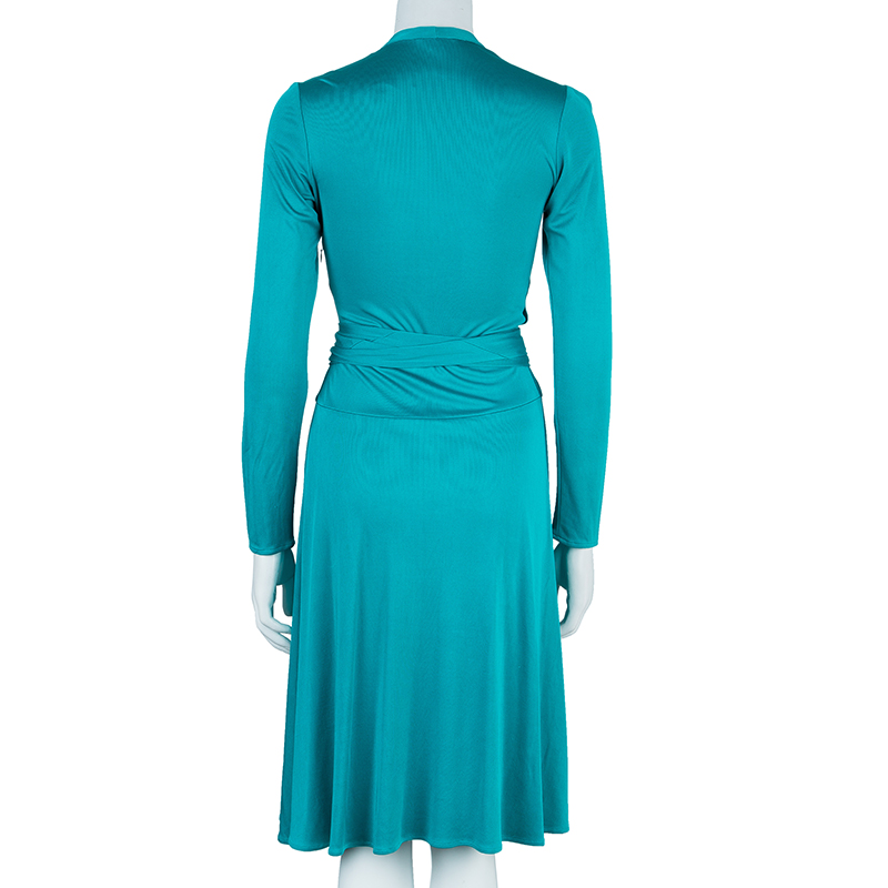 Issa Sea Blue Front Knot Detail Dress M