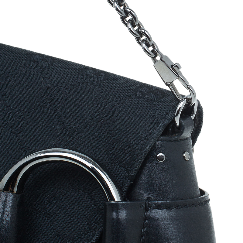Gucci Black Canvas Studded Horsebit Chain Clutch
