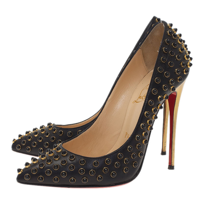 Christian Louboutin Black Studded Leather Pigalle Pumps Size 37