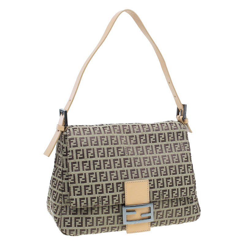 Fendi Brown Zucchino Mama Forever Baguette Shoulder Bag