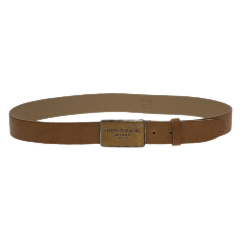 Dolce and Gabbana Brown Leather Plaque Belt 100CM