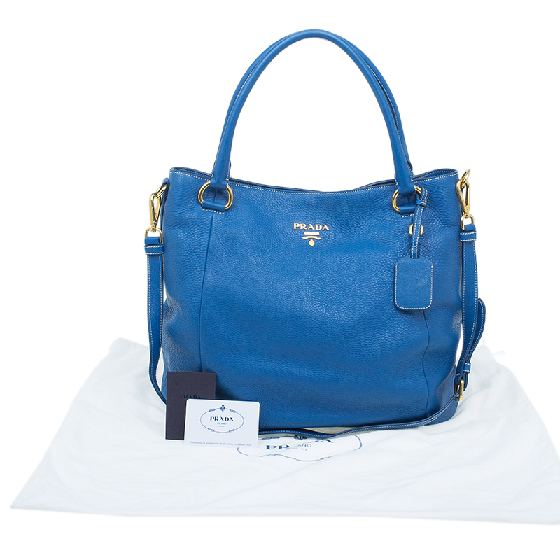 Prada Blue Vitello Daino Leather Tote Bag