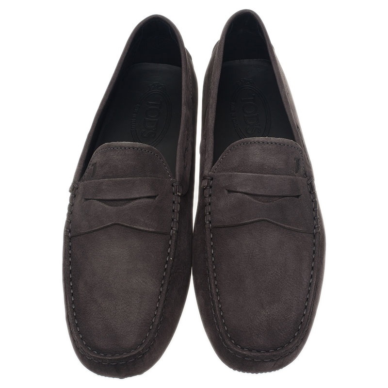Tod's Grey Suede Penny Loafers Size 42