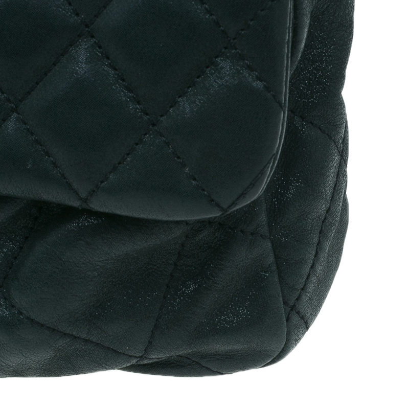 Chanel Black Quilted Washed Leather Medium Iridescent Flap Bag
