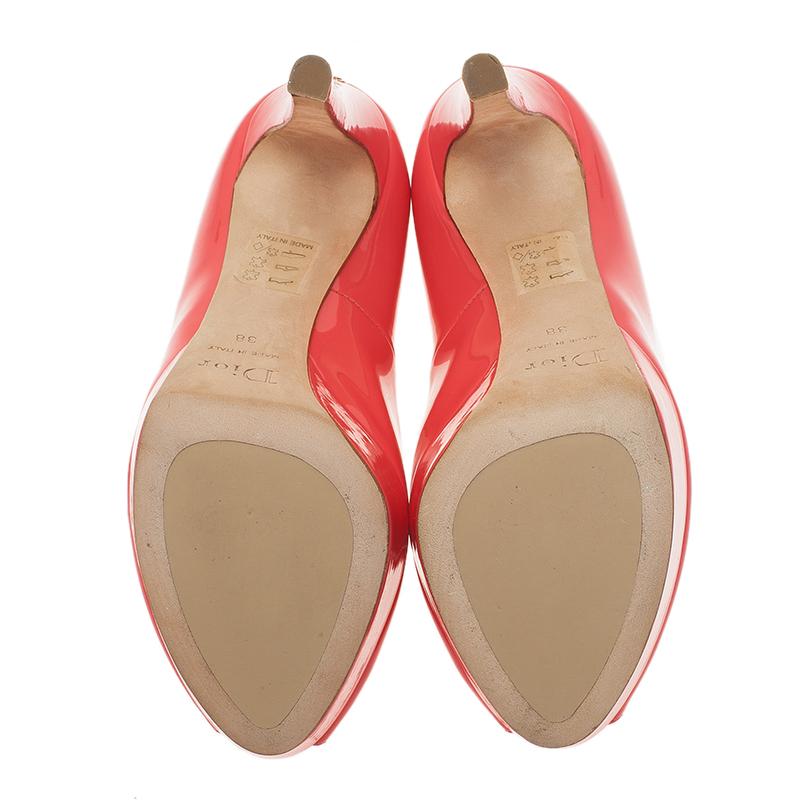 Dior Pink Patent Peep Toe Platform Pumps Size 38