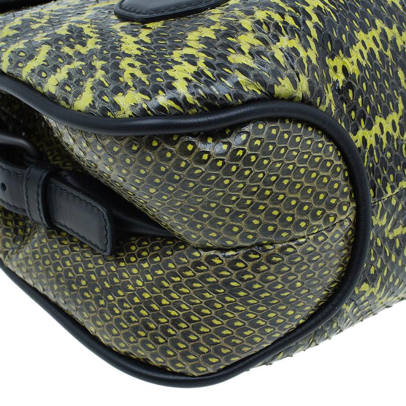 Bottega Veneta Black and Yellow Snake Print Elaphe Rialto Shoulder Bag