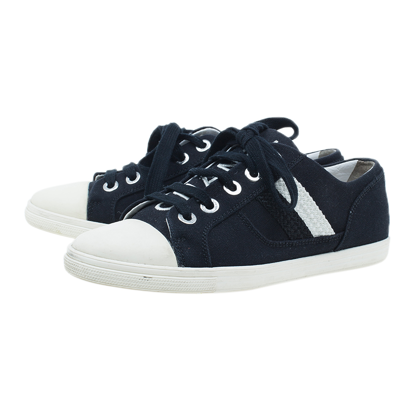 Chanel Black and White Striped Canvas Sneakers Size 37.5