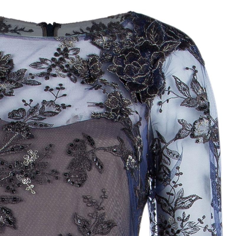 Notte By Marchesa Tiered Flower Appliqué Gown M