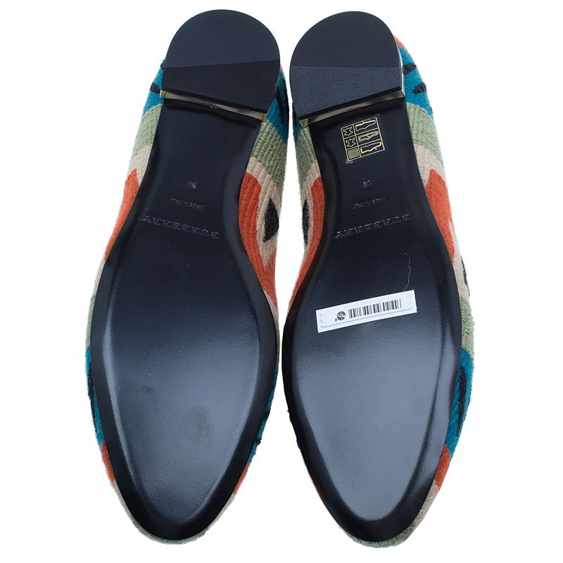Burberry Prosum Multicolor Hoadley Tapestry Smoking Slippers Size 39
