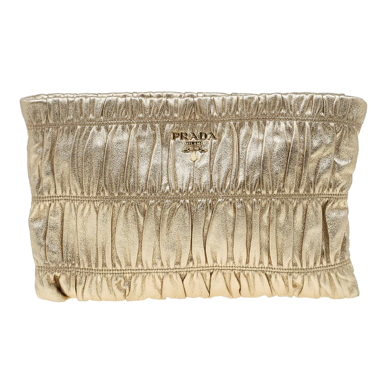 Prada Gold Patent Leather Gauffre Shirred Clutch