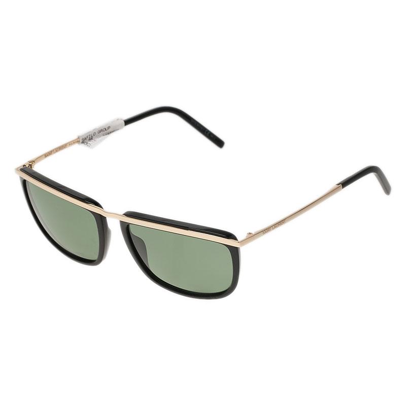 Saint Laurent Paris Black and Rose Gold  SL 58 Rectangle Sunglasses