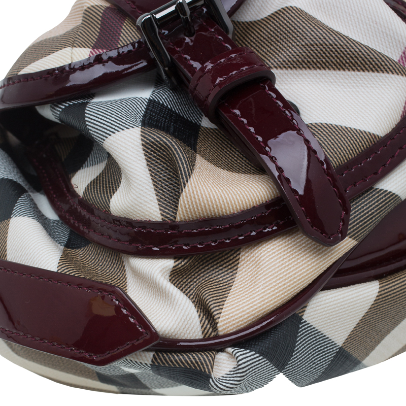 Burberry Burgundy Nova Check Patent Leather Sling Bag