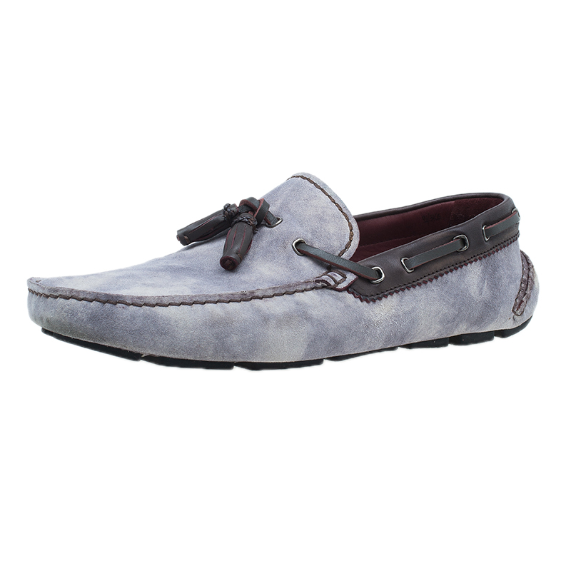 Berluti Grey Shaded Suede Loafers Size 43.5