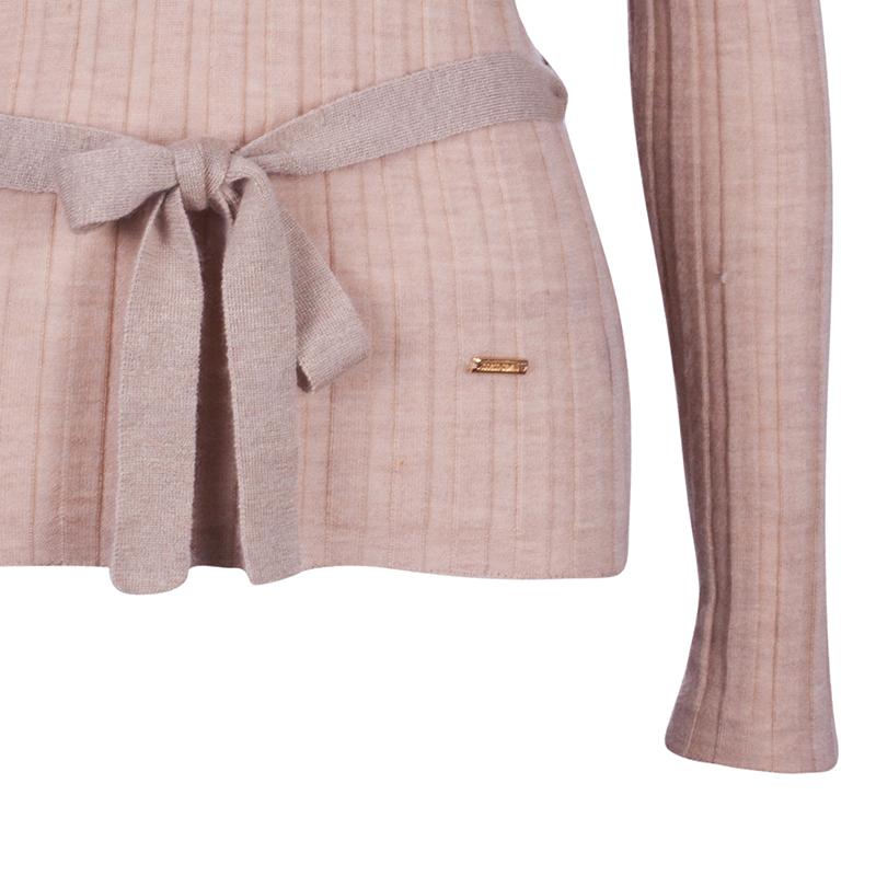 Roberto Cavalli Beige Belted Cashmere Sweater M