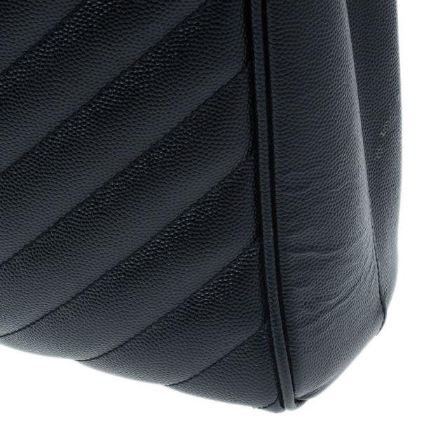 Saint Laurent Paris Black Matelasse Leather Cassandre Shopper Tote