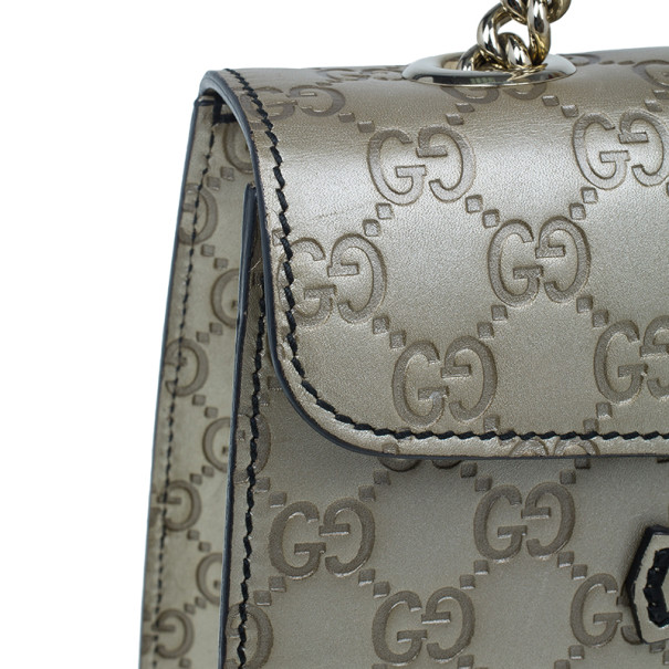 Gucci Metallic Gold Guccissima Leather Emily Chain Shoulder Bag