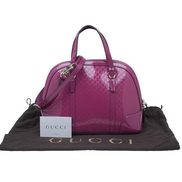 Gucci Pink Patent Nice Microguccissima Top Handle Bag
